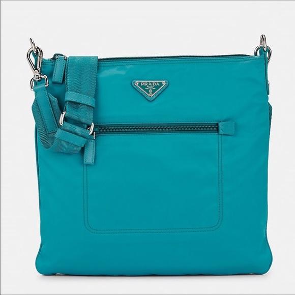 66804529 PRADA Leather Trimmed Messenger Bag Blue NWT NWT